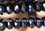 CRB2652 15.5 inches 3.5*5mm faceted rondelle black spinel beads