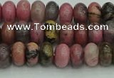 CRB2885 15.5 inches 4*6mm rondelle rhodonite beads wholesale