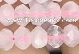 CRB3002 15.5 inches 6*8mm faceted rondelle rose quartz beads