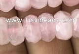 CRB3004 15.5 inches 6*10mm faceted rondelle rose quartz beads