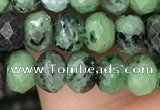 CRB3035 15.5 inches 4*6mm faceted rondelle ruby zoisite beads