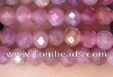 CRB3111 15.5 inches 2*3mm faceted rondelle tiny ruby gemstone beads