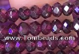 CRB3158 15.5 inches 2.5*4mm faceted rondelle tiny red garnet beads