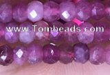 CRB3160 15.5 inches 2.5*4mm faceted rondelle tiny pink tourmaline beads