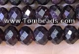 CRB3191 15.5 inches 4*6mm faceted rondelle tiny red garnet beads