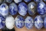 CRB4115 15.5 inches 5*8mm faceted rondelle blue spot stone beads