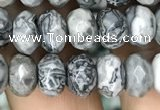 CRB4122 15.5 inches 5*8mm faceted rondelle grey picture jasper beads