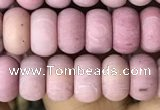 CRB5013 15.5 inches 4*6mm rondelle matte pink wooden fossil jasper beads