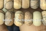 CRB5061 15.5 inches 5*8mm rondelle matte picture jasper beads
