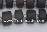 CRB514 15.5 inches 6*12mm tyre matte ice black obsidian beads