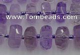 CRB565 15.5 inches 6*10mm faceted rondelle amethyst beads