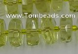 CRB575 15.5 inches 8*14mm faceted rondelle lemon quartz beads