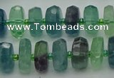 CRB616 15.5 inches 8*14mm faceted rondelle fluorite beads