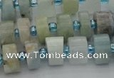 CRB646 15.5 inches 6*10mm tyre aquamarine gemstone beads