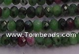 CRB725 15.5 inches 2.5*4mm faceted rondelle ruby zoisite beads