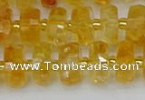 CRB843 15.5 inches 7*12mm faceted rondelle citrine beads