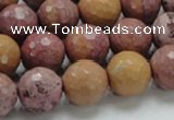 CRC61 15.5 inches 14mm faceted round rhodochrosite gemstone beads