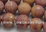 CRC62 15.5 inches 16mm faceted round rhodochrosite gemstone beads