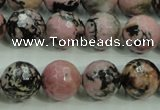 CRD16 15.5 inches 14mm faceted round rhodonite gemstone beads