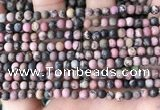 CRD30 15.5 inches 4mm round matte rhodonite beads wholesale