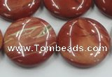 CRE09 16 inches 25mm flat round natural red jasper beads wholesale