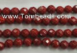 CRE152 15.5 inches 6mm faceted round red jasper beads wholesale