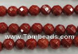 CRE153 15.5 inches 8mm faceted round red jasper beads wholesale