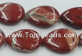 CRE16 16 inches 18*25mm flat teardrop natural red jasper beads wholesale