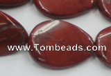 CRE18 16 inches 22*30mm twisted teardrop natural red jasper beads wholesale