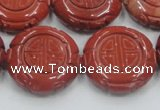 CRE20 16 inches 25mm carved coin natural red jasper beads wholesale