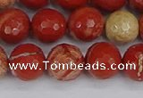 CRE333 15.5 inches 10mm faceted round red jasper beads