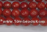CRE339 15.5 inches 6mm faceted round red jasper beads