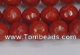 CRE341 15.5 inches 10mm faceted round red jasper beads