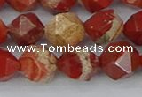 CRE348 15.5 inches 12mm faceted nuggets red jasper beads