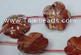 CRE62 15.5 inches 24mm carved flower red jasper beads wholesale