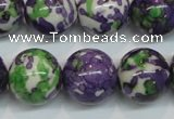 CRF07 15.5 inches 16mm round dyed rain flower stone beads wholesale