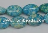 CRF126 15.5 inches 13*18mm oval dyed rain flower stone beads