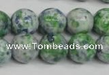 CRF155 15.5 inches 14mm round dyed rain flower stone beads wholesale