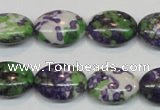 CRF18 15.5 inches 13*18mm oval dyed rain flower stone beads wholesale