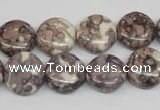 CRF237 15.5 inches 14mm flat round dyed rain flower stone beads