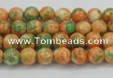 CRF307 15.5 inches 4mm round dyed rain flower stone beads wholesale