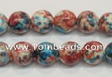 CRF73 15.5 inches 10mm round dyed rain flower stone beads wholesale