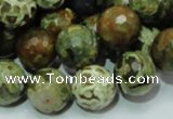 CRH113 15.5 inches 14mm faceted round rhyolite beads