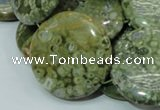 CRH40 15.5 inches 30mm flat round rhyolite beads wholesale