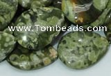 CRH49 15.5 inches 22*30mm flat teardrop rhyolite beads wholesale
