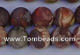 CRH514 15.5 inches 12mm round matte rhyolite gemstone beads