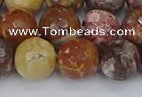 CRH522 15.5 inches 12mm faceted round rhyolite gemstone beads