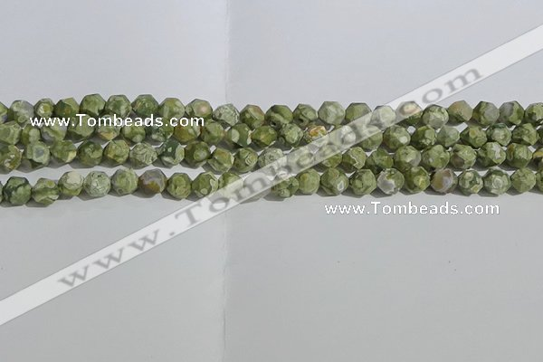 CRH553 15.5 inches 6mm faceted nuggets matte rhyolite gemstone beads