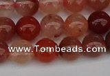 CRH602 15.5 inches 8mm round red rabbit hair quartz beads