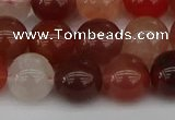 CRH603 15.5 inches 10mm round red rabbit hair quartz beads